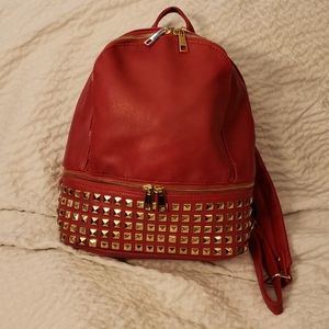 Nwt red backpack purse gold hardware